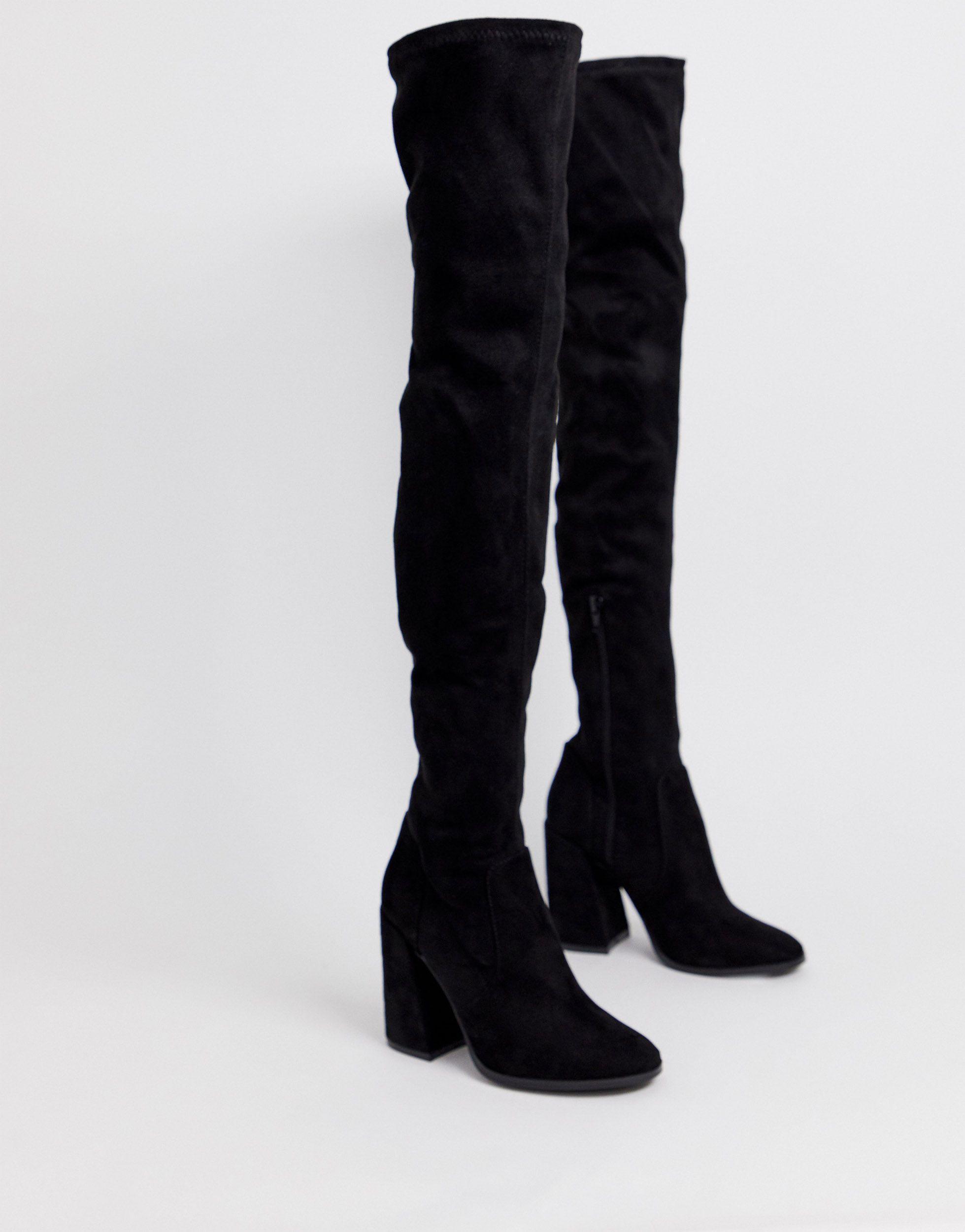 Botas altas hasta el muslo ASOS de Ante de color Negro