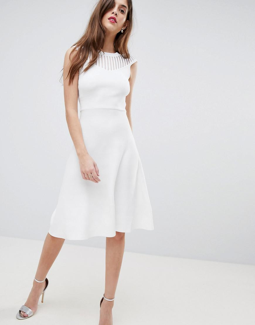 Knitted Fit and Flare Dress - White French Connection tBjlptT5