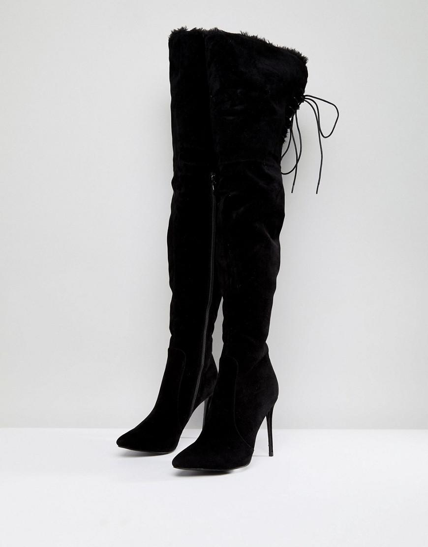 PrettyLittleThing Faux Fur Trim Heeled Over The Knee Boot in Black