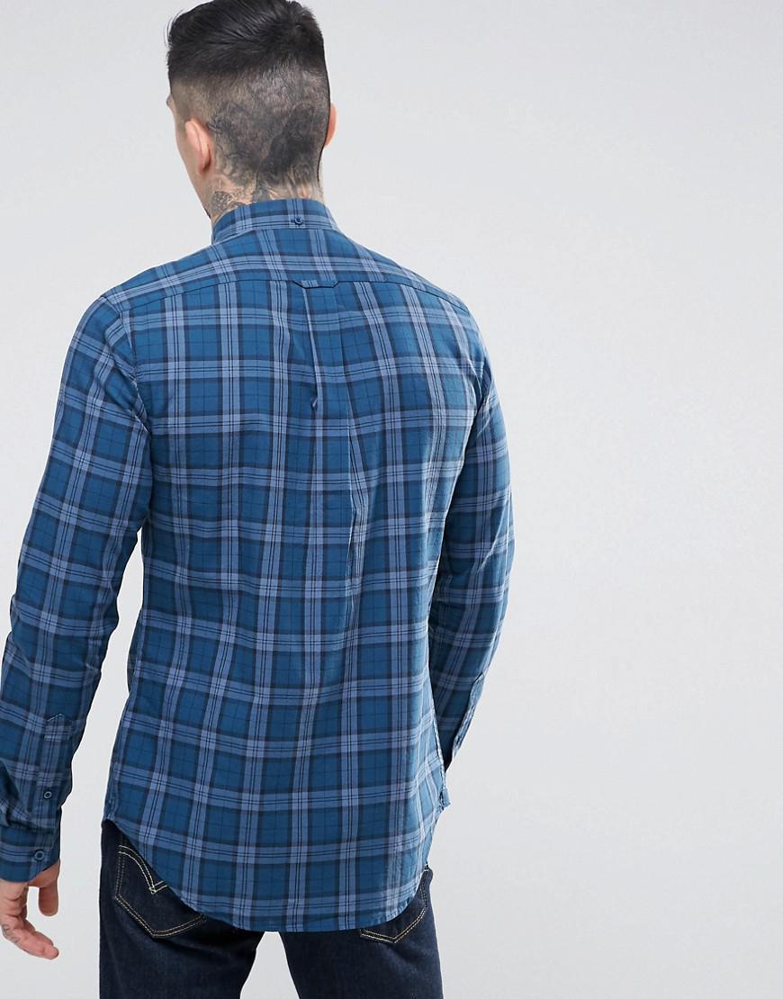 Lyst farah faustine slim fit check shirt in blue in blue for Slim fit check shirt