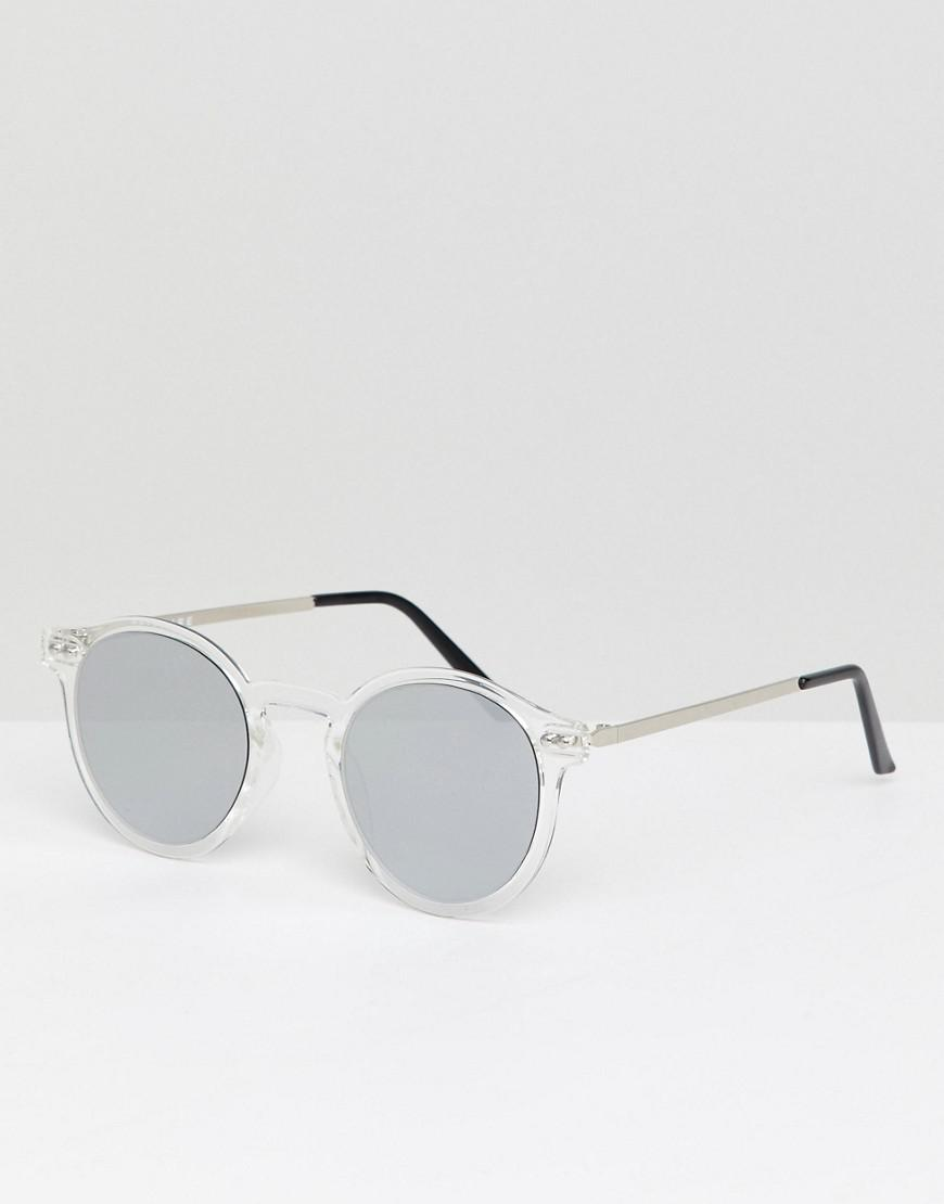 f271d82457 Spitfire Round Sunglasses In Clear With Silver Lens in Metallic for ...