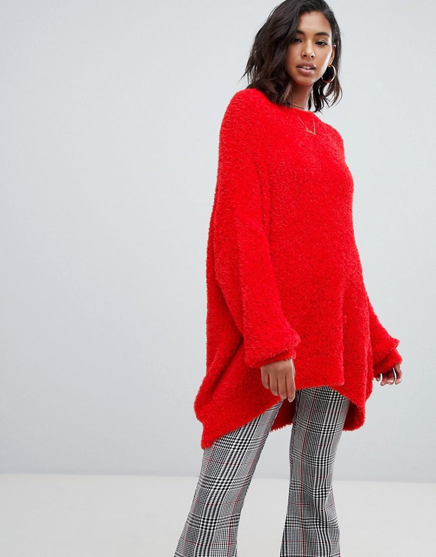 Lyst - Boohoo Oversized Boyfriend Knit Sweater In Red in Black 3b00ca505