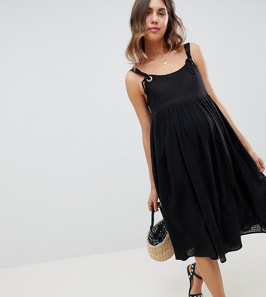 6a7a85edfe8 Lyst - Robe mi-longue enfiler avec liens nouer Asos en coloris Noir