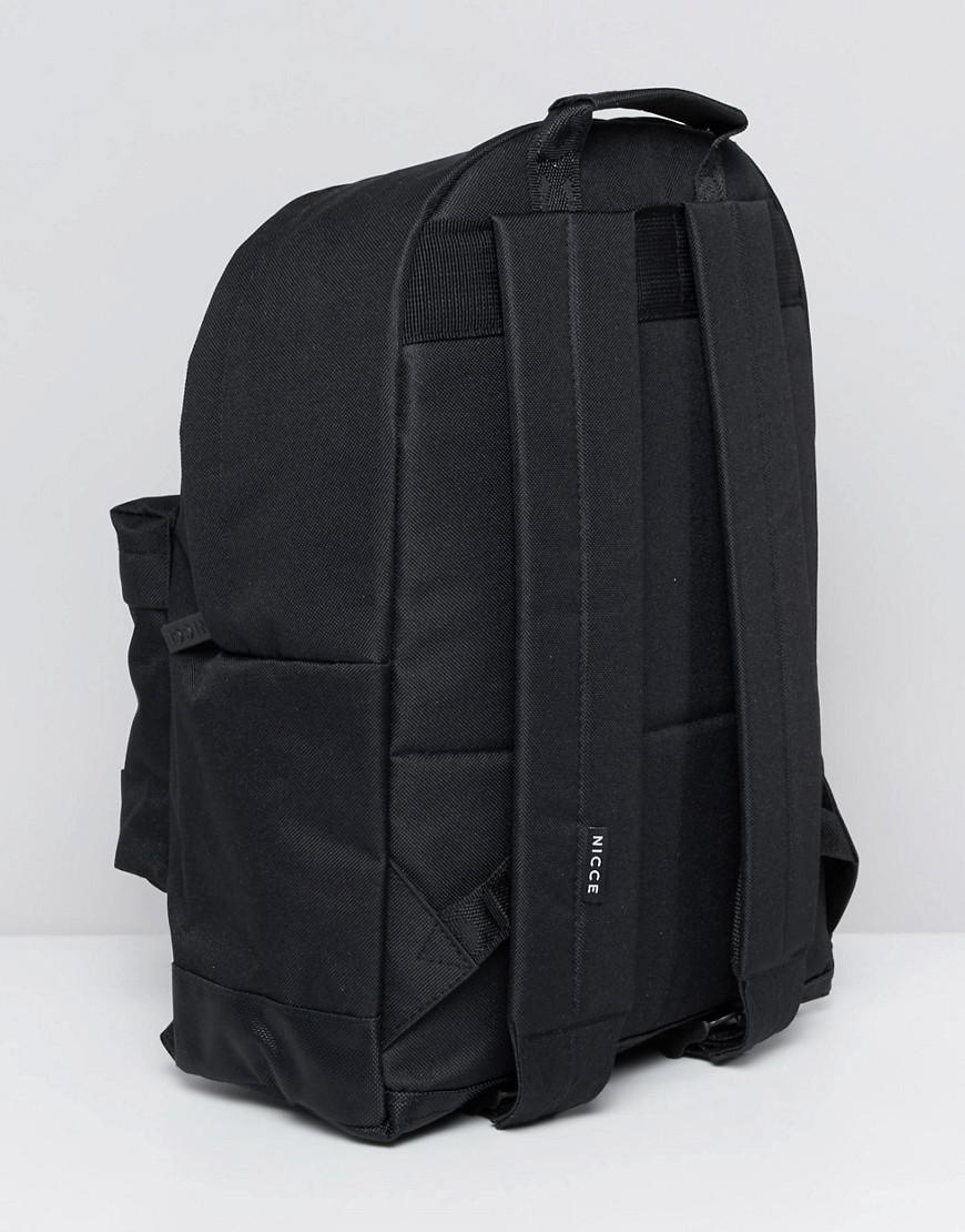 Nicce London Black Backpack And Pencil Case for Men