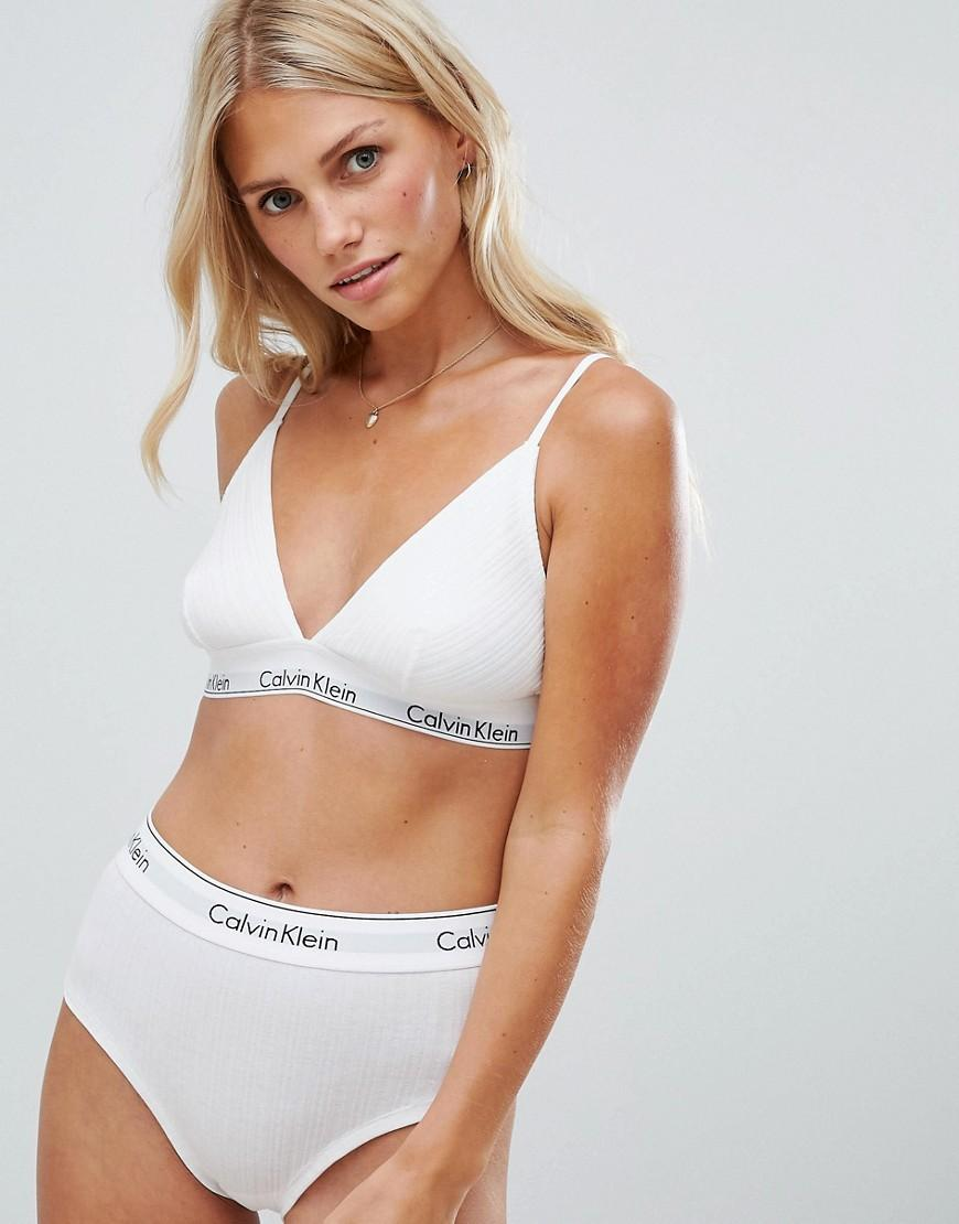 81783e3def4836 Calvin Klein White Modern Cotton Ribbed Unlined Triangle Bra