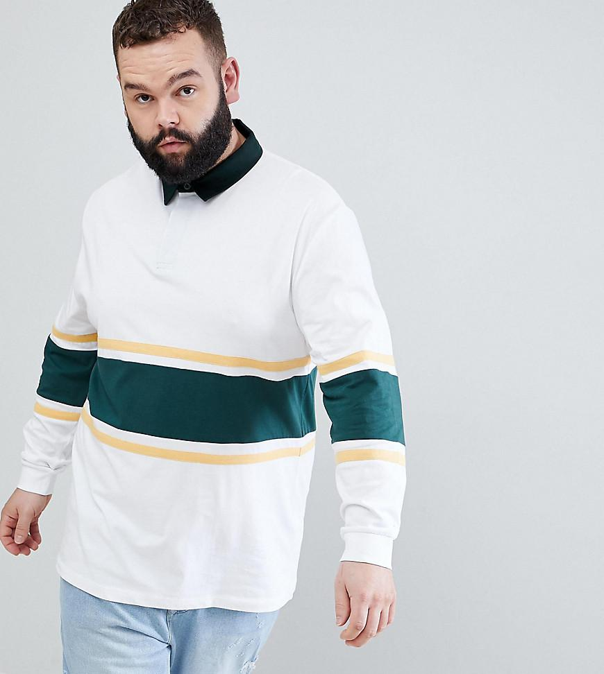 DESIGN Plus relaxed long sleeve rugby polo with bright stripe - Multi Asos Comfortable Cheap Online Outlet Free Shipping fXCQLWxvZ2