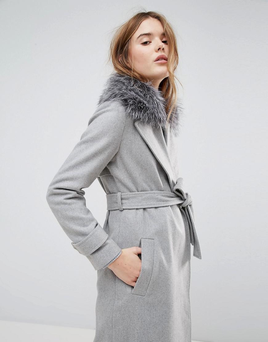 2a7bcdddd New Look Faux Fur Collar Belted Midi Coat in Gray - Lyst