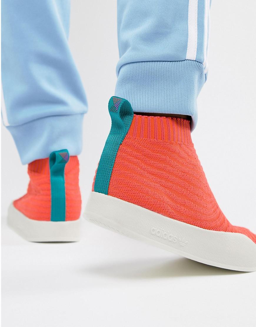 4f04a7498 adidas Originals Adilette Primeknit Sock Summer Sneakers In Orange ...
