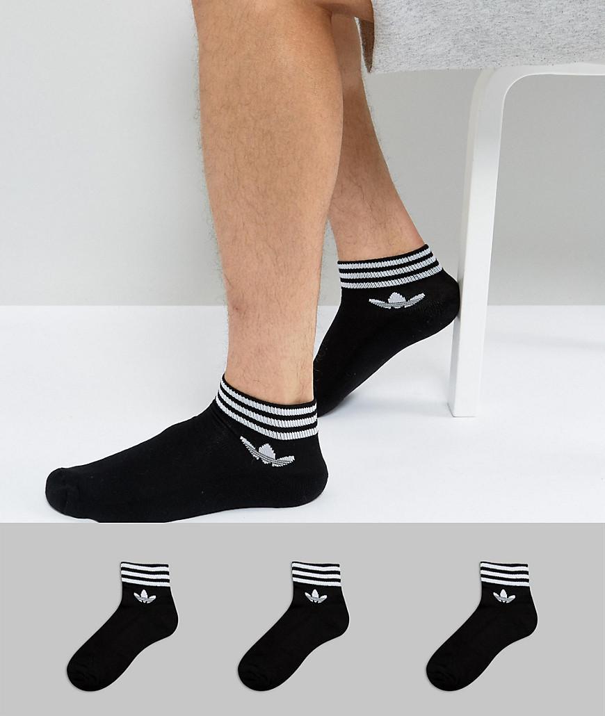 9ce8a653d224 adidas Originals 3 Pack Ankle Socks In Black Az5523 in Black for Men ...