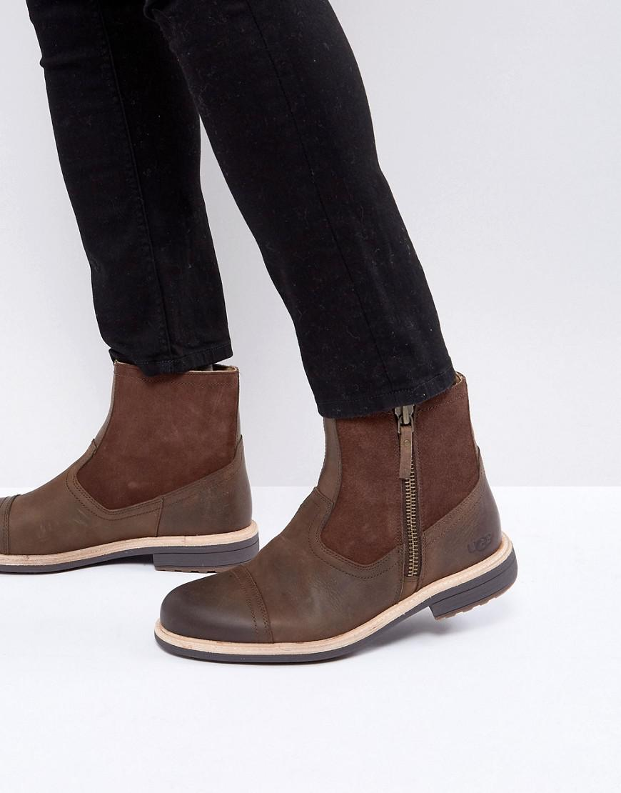7a036d52eae UGG Dalvin Treadlite Leather Zip Boots in Brown for Men - Lyst