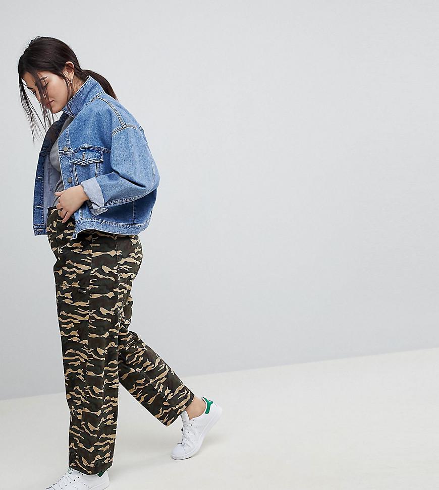 ASOS Asos Design Curve Bree Combat Trousers In Camo In