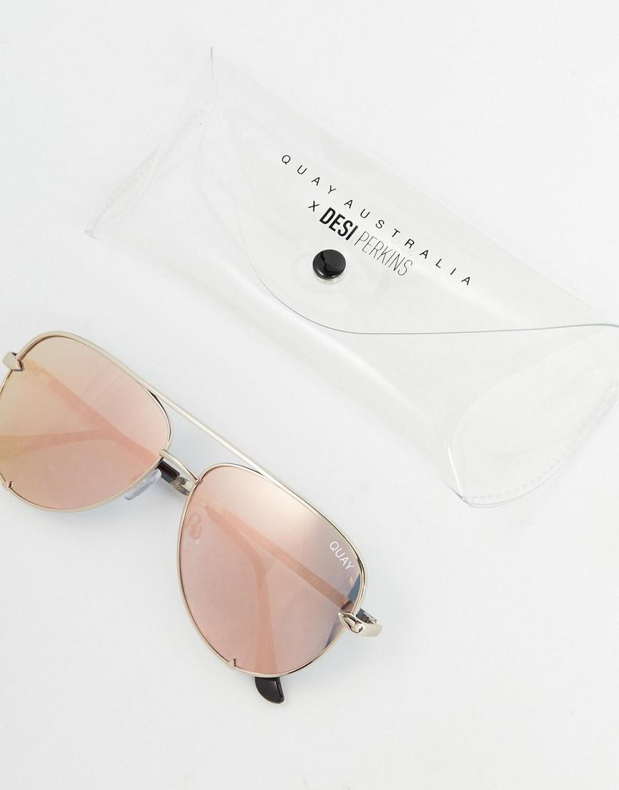 a9d3e4fef6 Lyst - Quay X Desi High Key Mini Aviator Sunglasses In Gold in Metallic for  Men