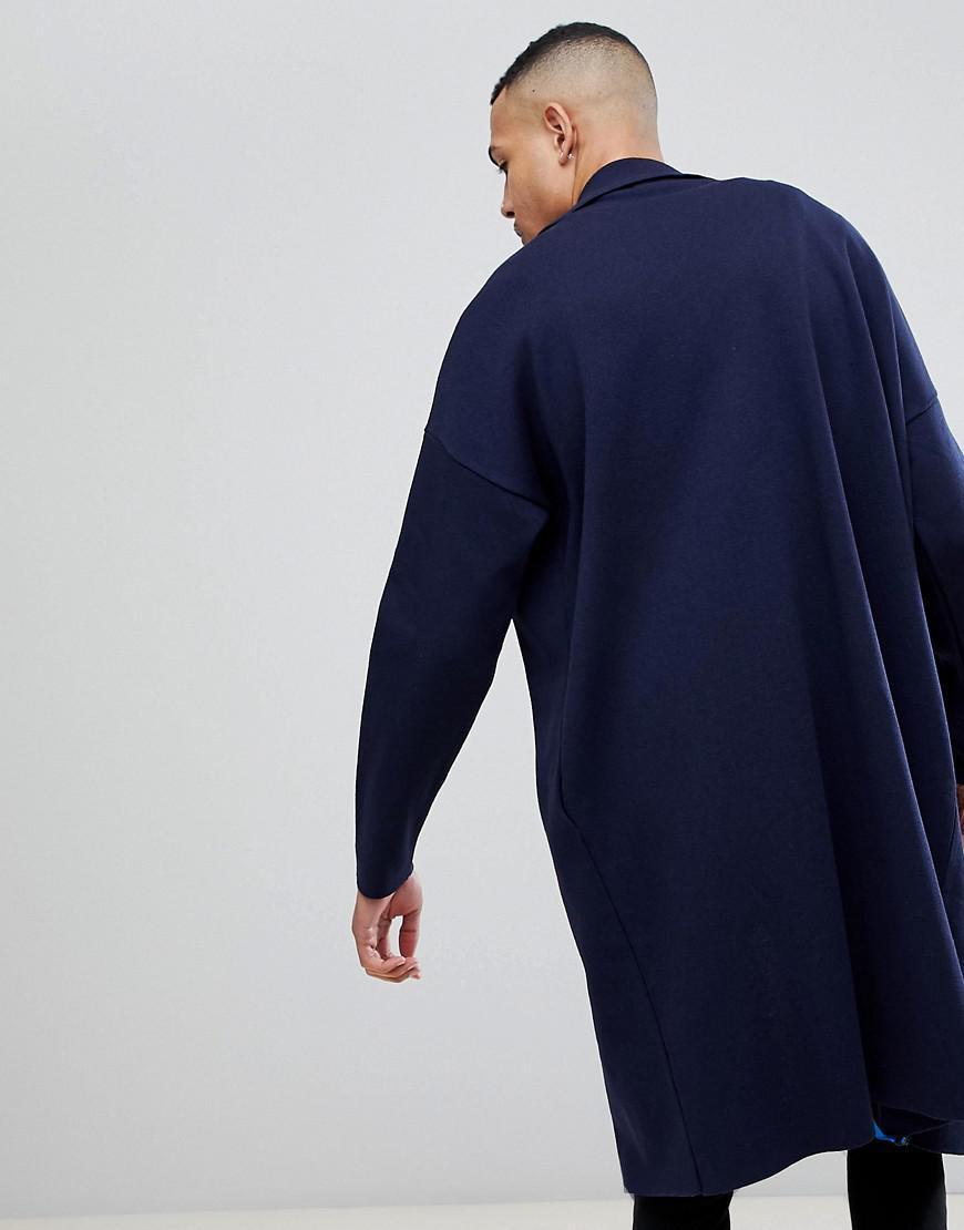 ASOS Denim Tall Longline Knitted Duster Jacket In Navy in Blue for Men