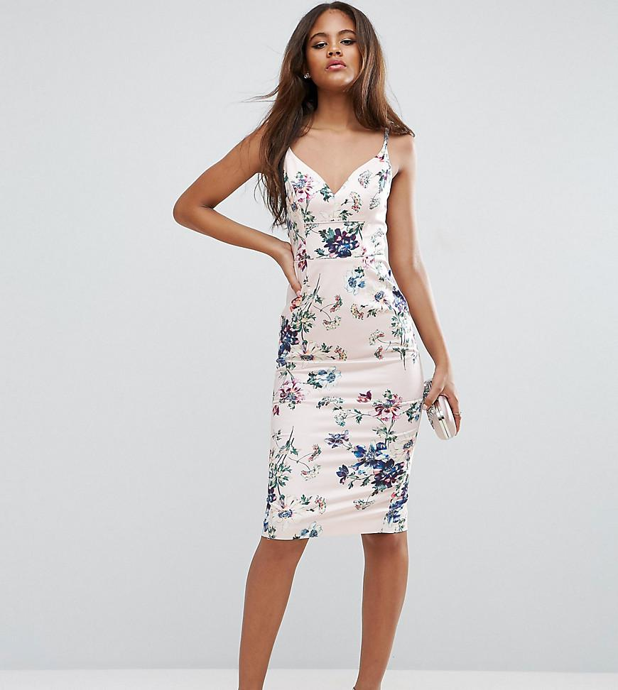 Lyst asos floral hitchcock pencil midi dress for Robe fleurie asos