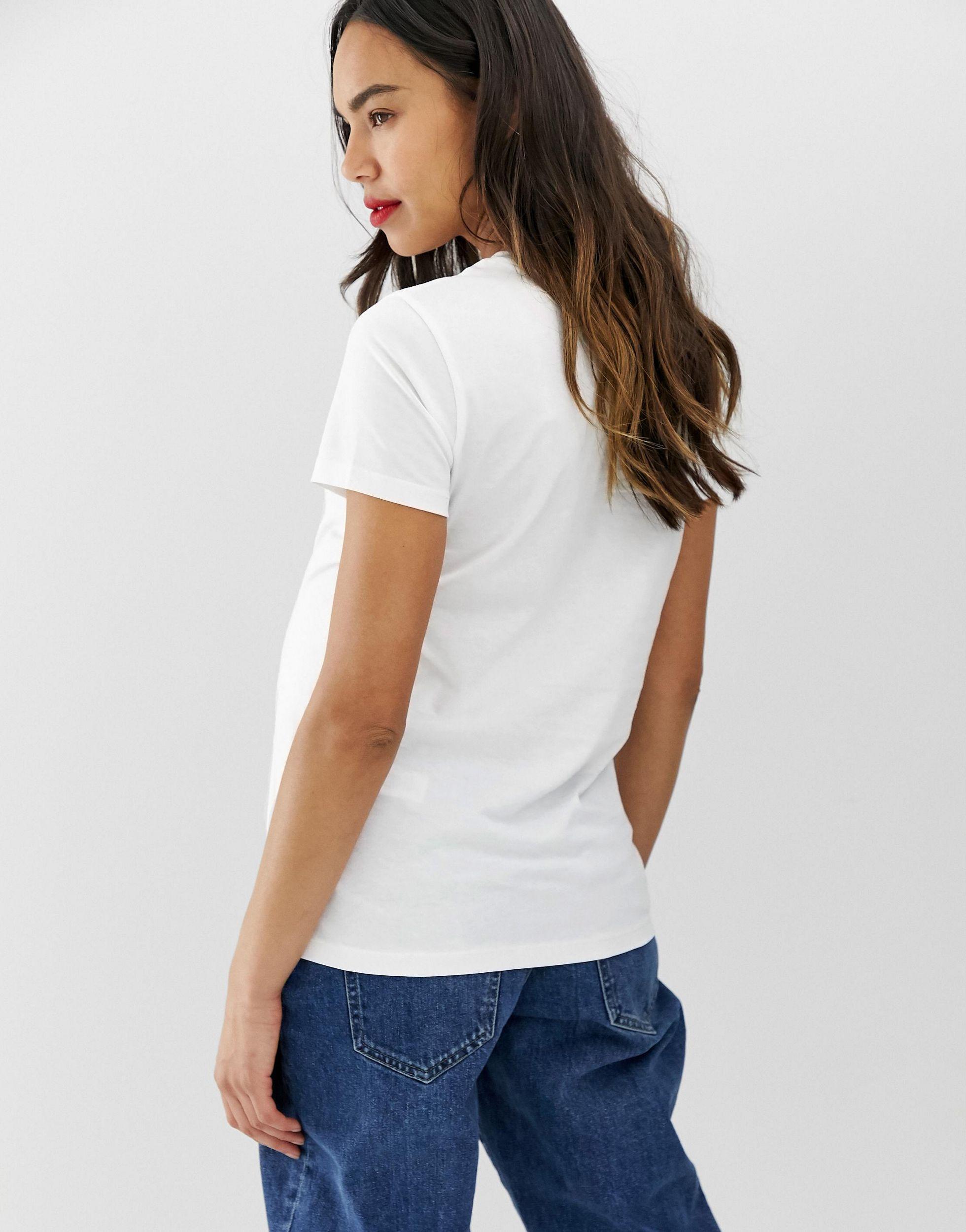 ASOS DESIGN Maternity - Ultimate - T-shirt ras Jean ASOS en coloris Blanc