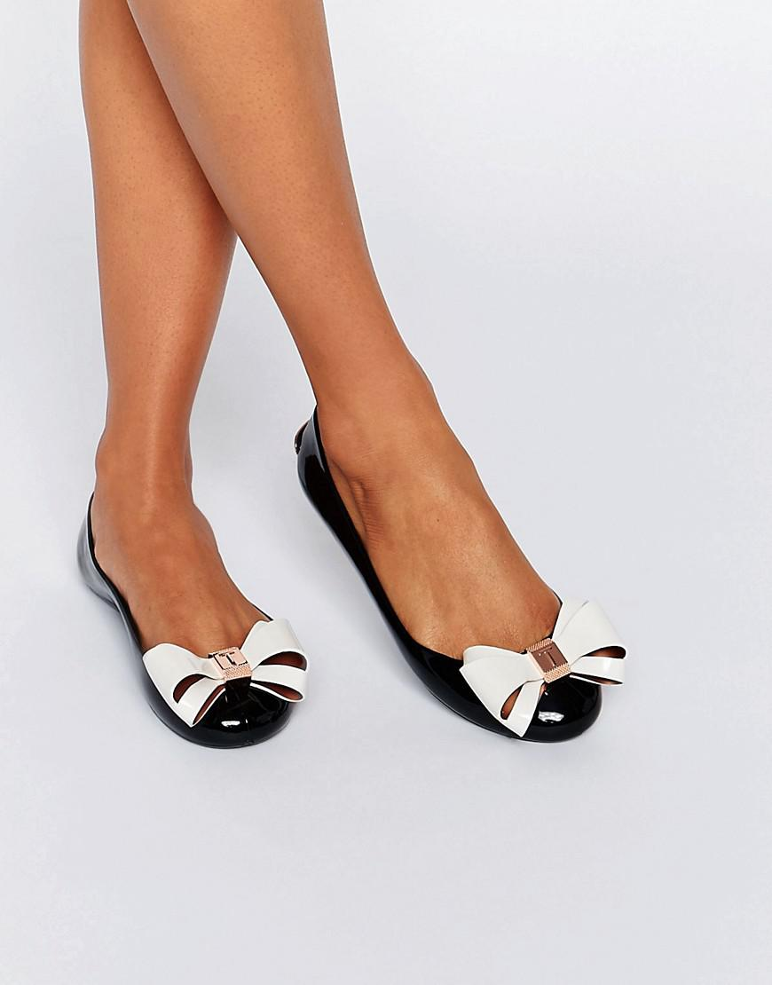 eda013f0e3 Ted Baker Julivia Bow Black Ballet Flat Shoes in Black - Lyst