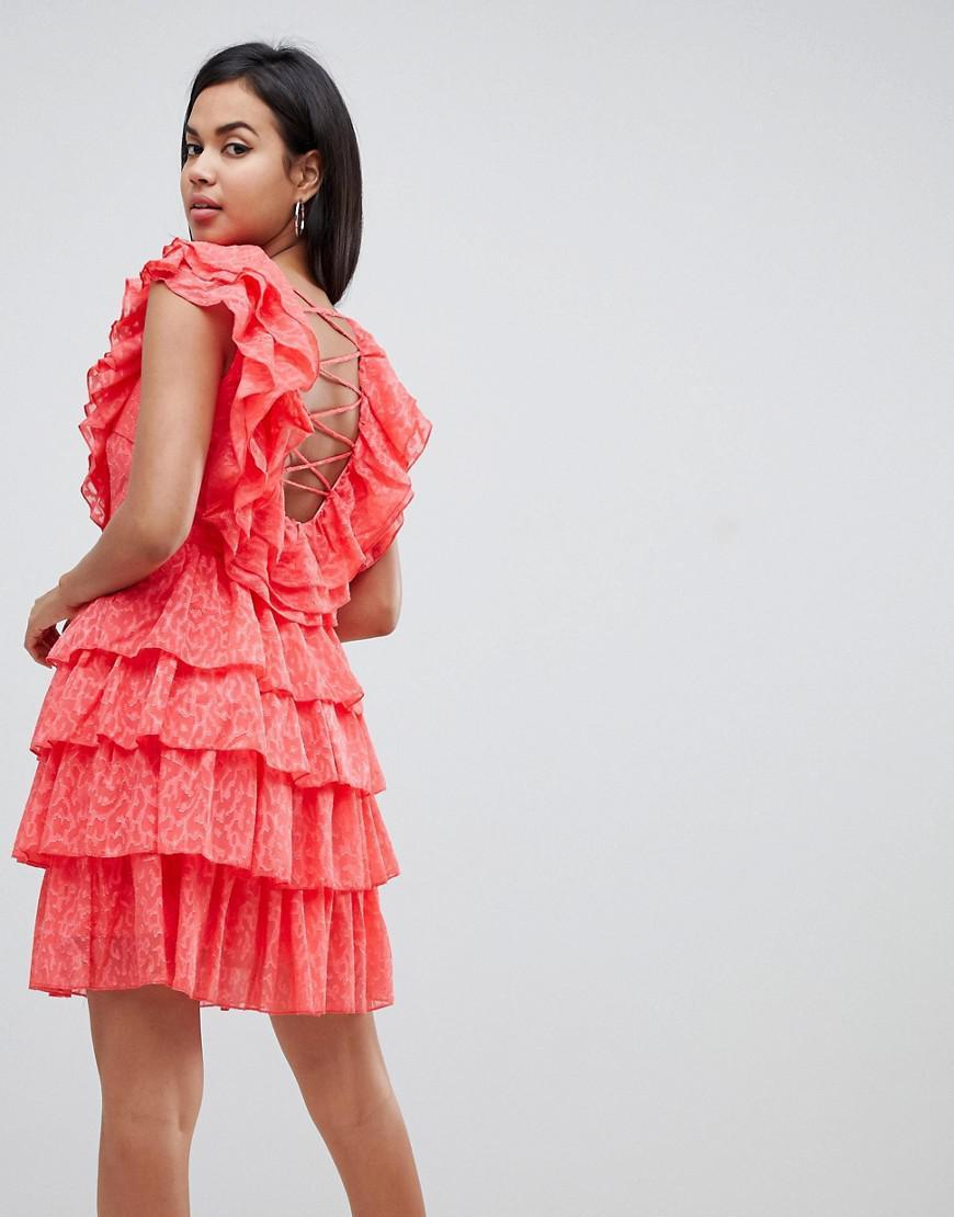 b7362592c7c2 Y.A.S Ruffle Lace Up Mini Dress in White - Lyst