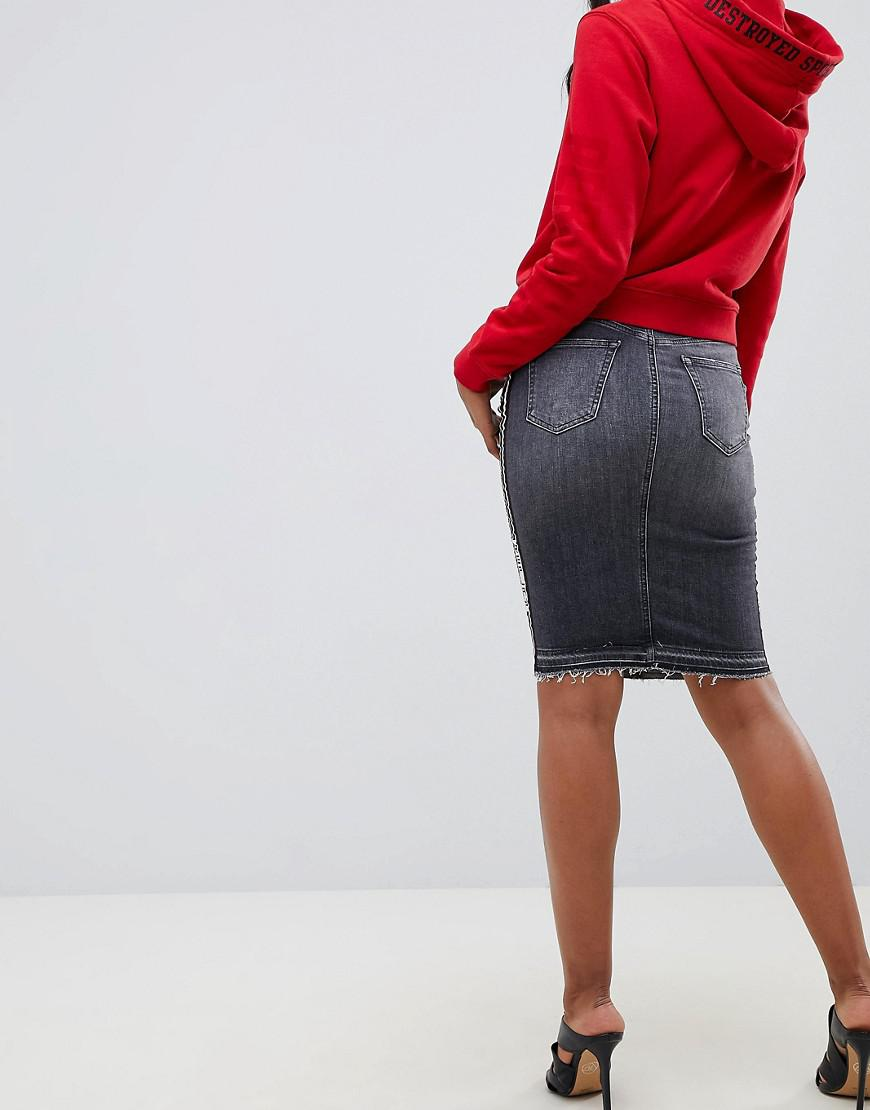 1cc4a411b Replay - Side Tape Detail Denim Skirt in Black - Lyst