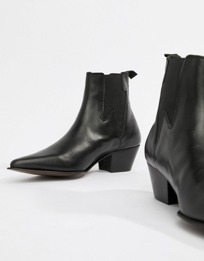 d5fa23636745 Lyst - ASOS Cuban Heel Western Boots In Black Leather With Lightning Detail  in Black for Men