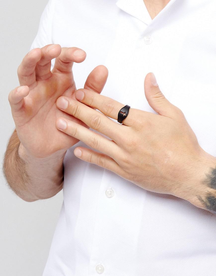 Icon Brand Cross Signet Ring In Matte Black for Men