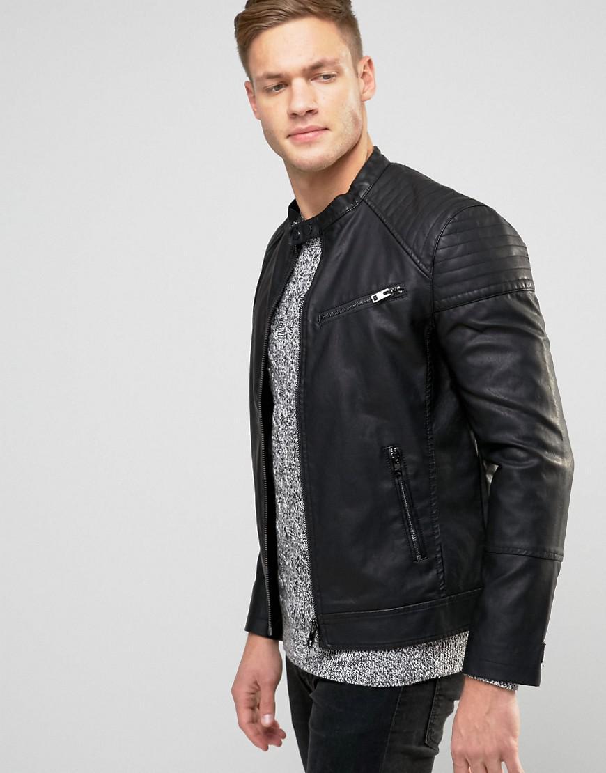 Lyst New Look Faux Leather Biker Jacket In Black In Black For Men