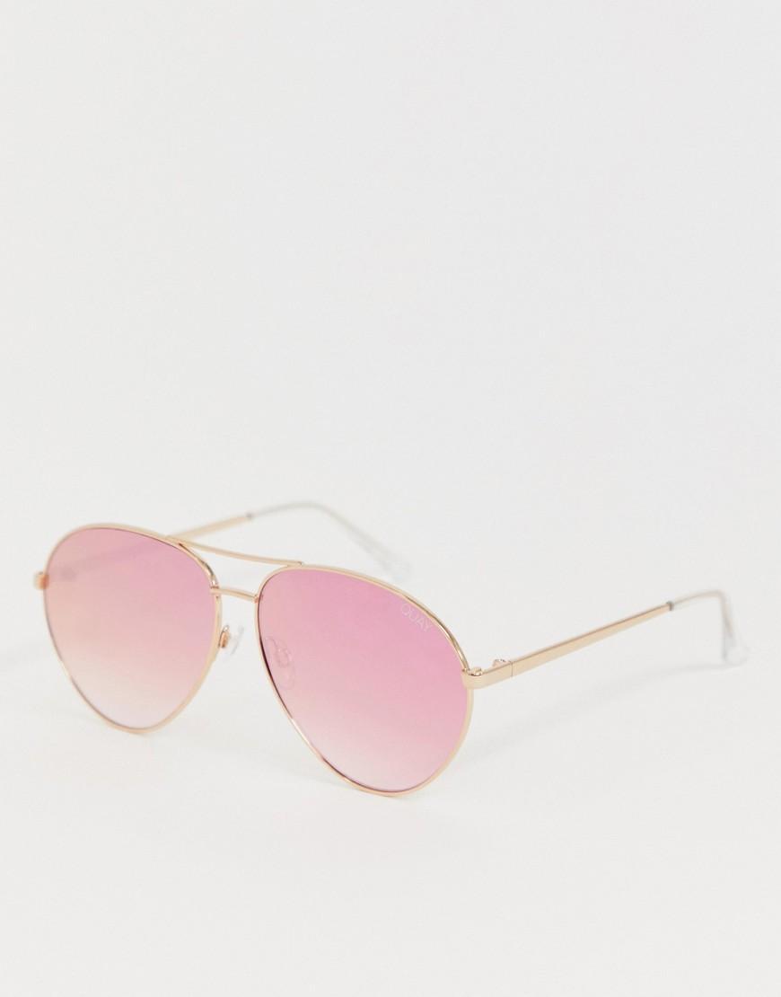 4bfbd95704c73 Lyst - Gafas de sol estilo aviador en dorado rosa Just Sayin de Quay ...