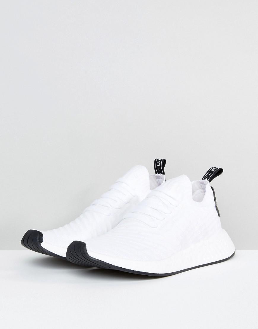 Nmd R2 Primeknit Trainers In White By3015