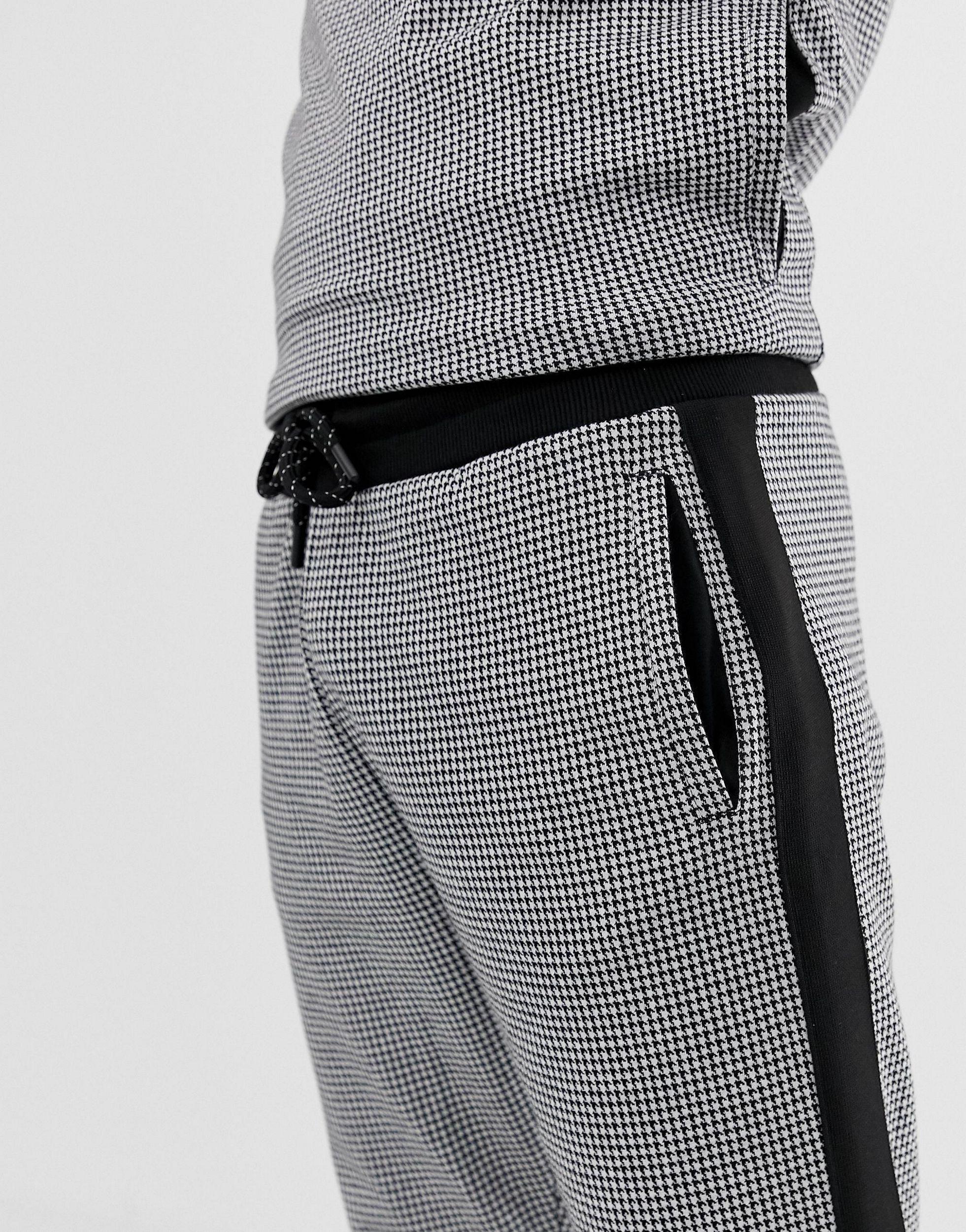 River Island Synthetisch Joggingbroek Met Pied-de-poule-print in het Zwart voor heren