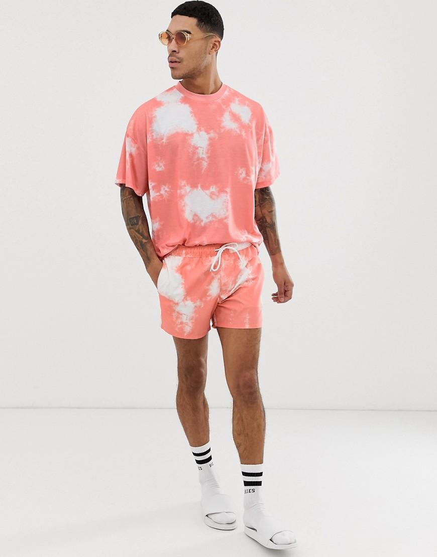 f08222139d35a ASOS. Men's Orange Two-piece Swim Shorts In Light Pink Tie Dye In Short  Length
