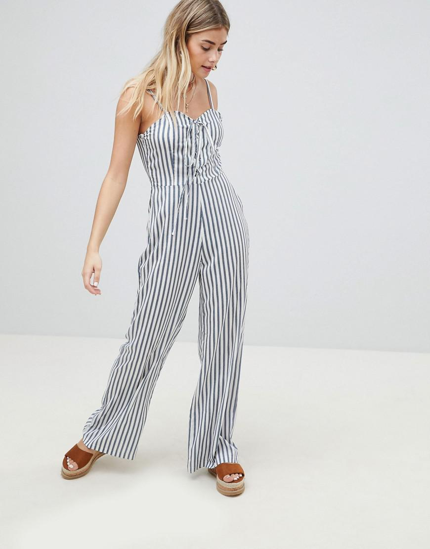 0d51558848d0 PrettyLittleThing Striped Jumpsuit in Blue - Lyst
