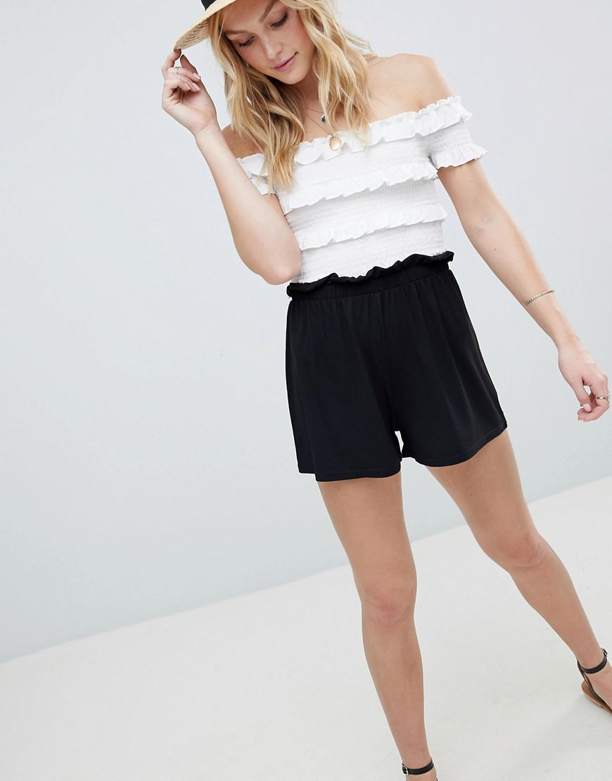 ASOS DESIGN Tall Culotte Shorts With Paperbag Waist - Black Asos Tall YUjQ9XG
