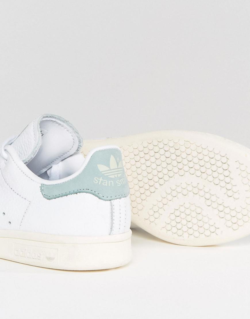 la meilleure attitude ff65b b23b2 Adidas Originals Originals White And Mint Stan Smith Sneakers