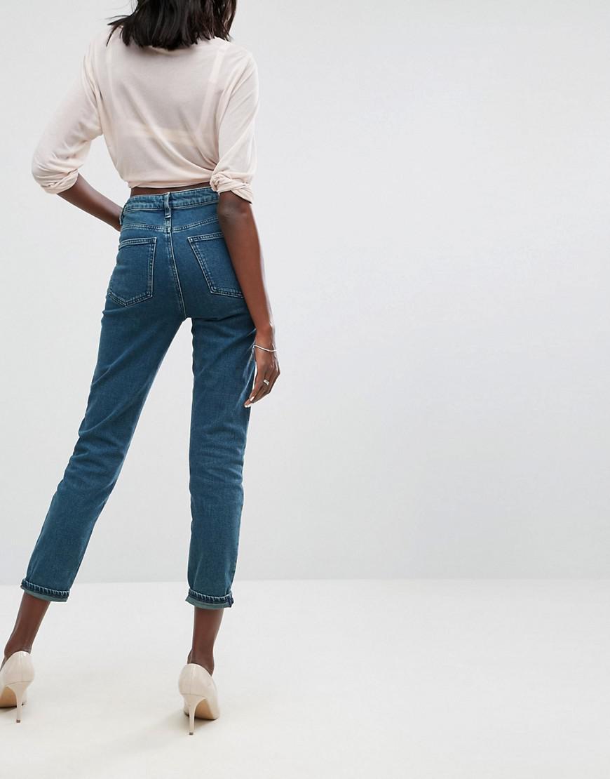 DESIGN Farleigh high waist Deconstructed slim mom jeans in belle green cast - Belle green blue Asos GFI0uu