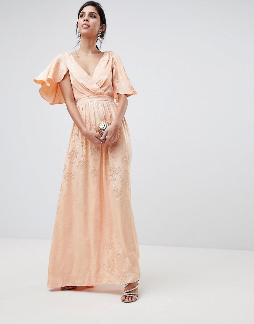 192b8fb0fe4 ASOS - Pink Soft Jacquard Maxi Dress With Flutter Sleeve - Lyst. View  fullscreen