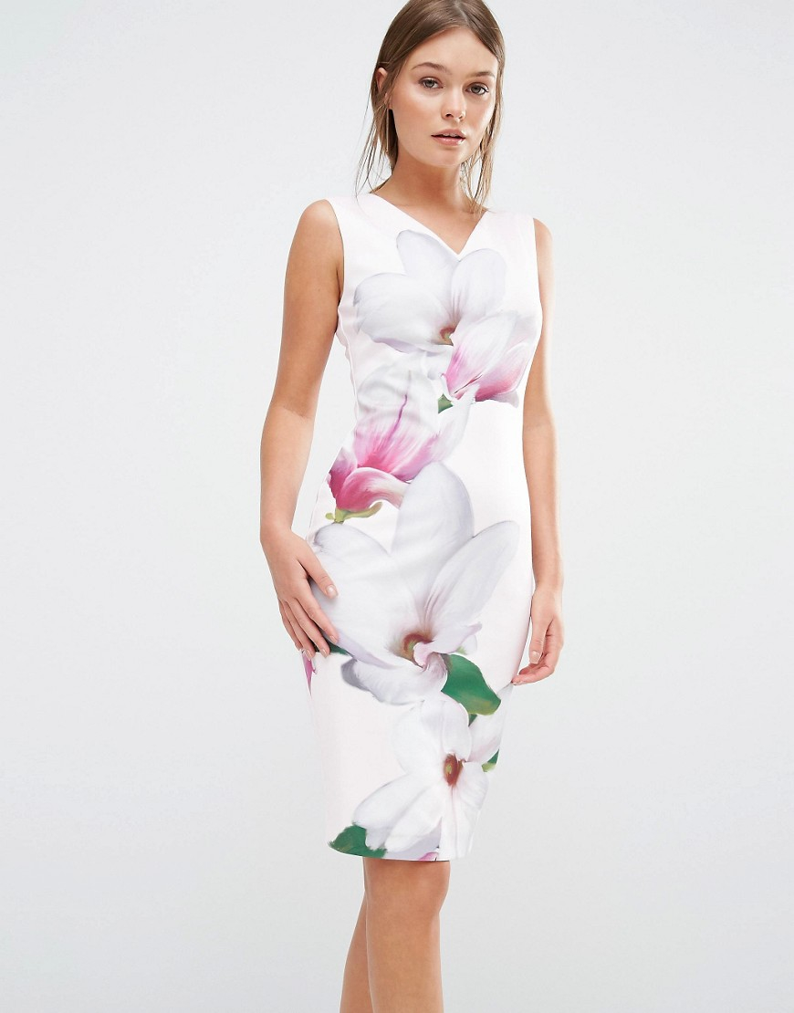 e85a7cfe6e Ted Baker Aviah Bodycon Dress In Pink Magnolia Print in Pink - Lyst