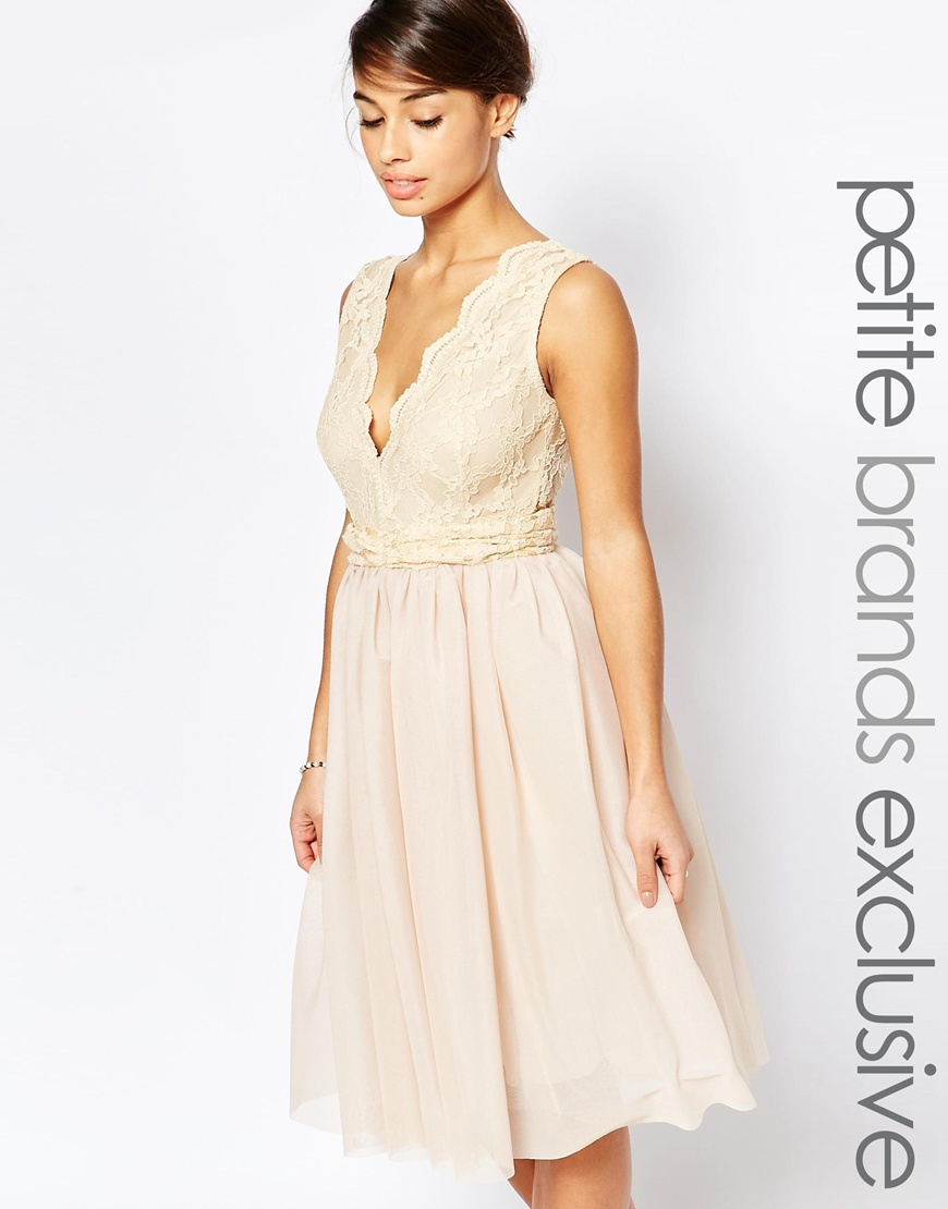 c3f0ac309 John Zack Plunge Lace Bodice Prom Dress in Natural - Lyst