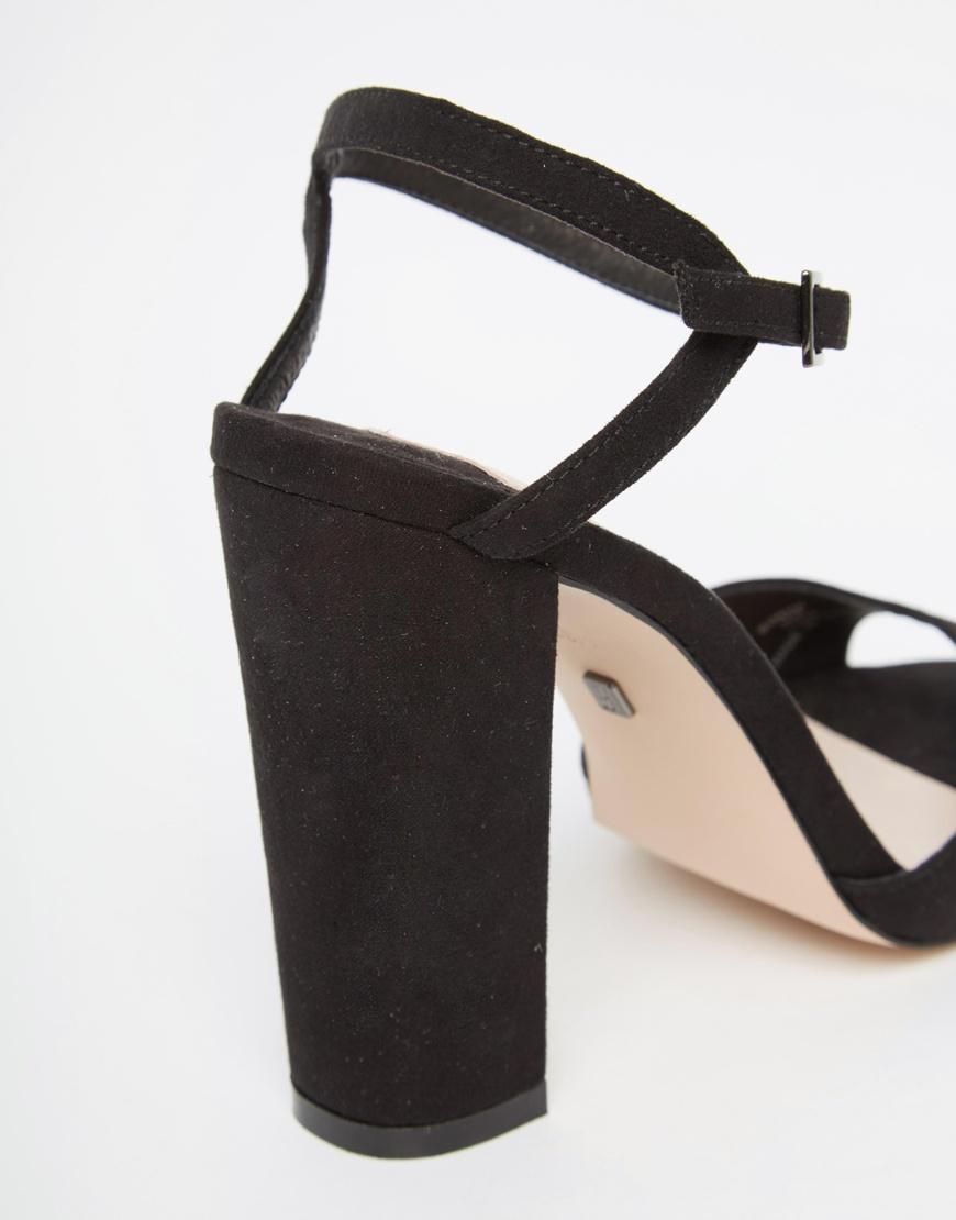 870498b22be Lyst - Faith Lenny Black Block Heel Sandals in Black