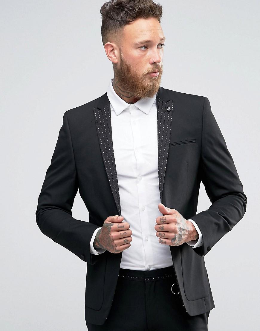 Asos Super Skinny Suit Jacket With Polka Dot Lapel in Black for ...