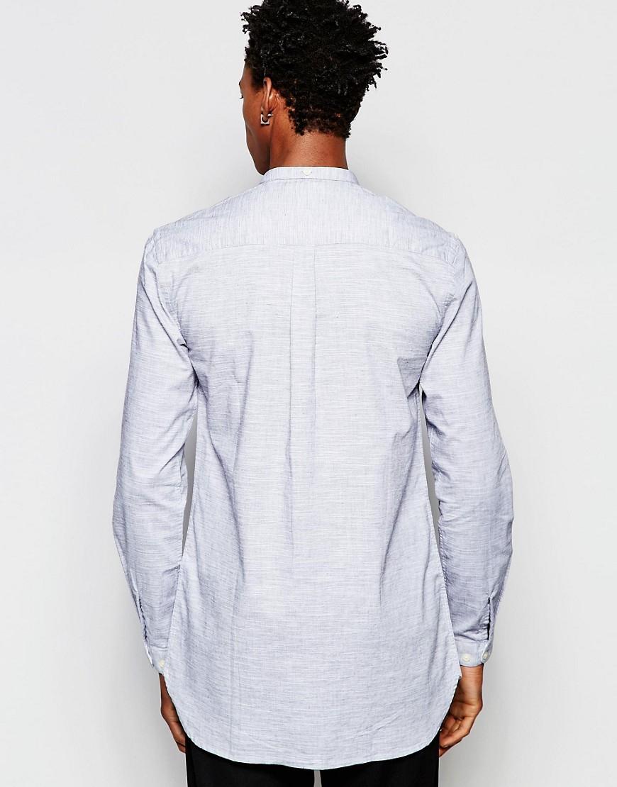 Lyst minimum grandad collar shirt in gray for men for Bear river workwear shirts