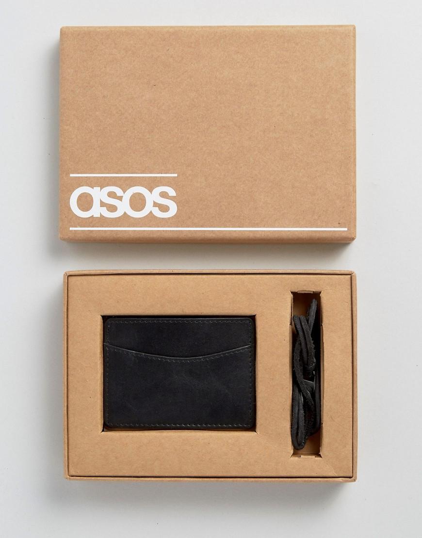 asos bracelet and card holder set in black for lyst
