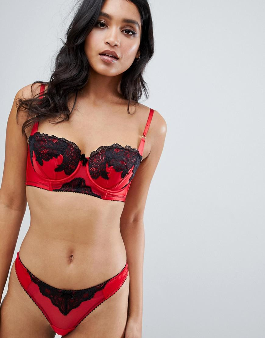 Lyst - Ann Summers Alissa Lace Trim Satin Thong In Red in Red 2646b0328
