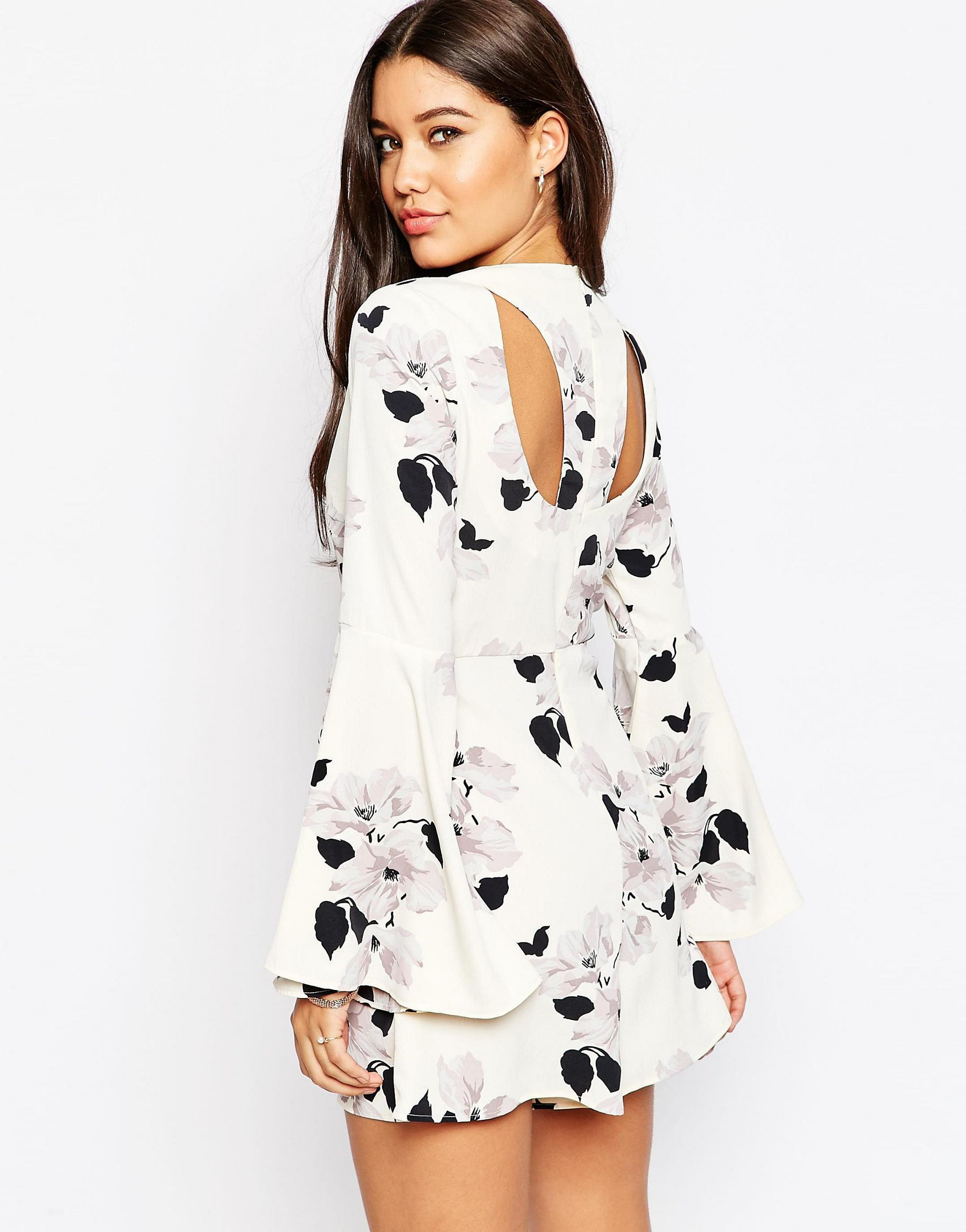 Asos Occasion Floral Print Romper With Flare Sleeves | Lyst