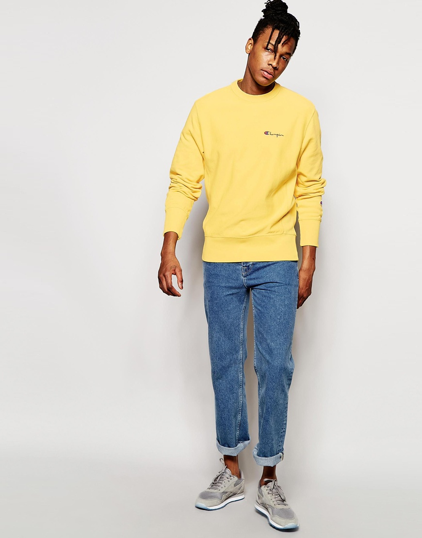 Champion Sweatshirt With Small Script Logo in Yellow for Men | Lyst