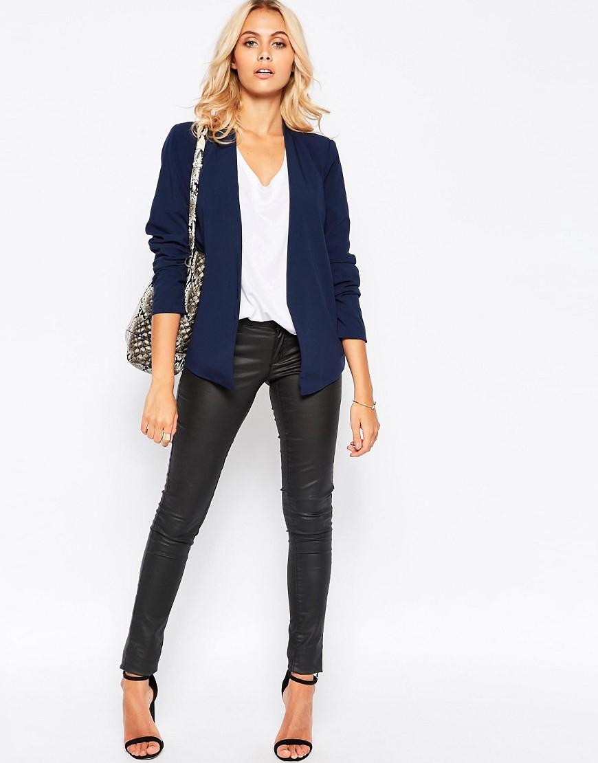 vero moda tailored blazer with double zip in blue black lyst. Black Bedroom Furniture Sets. Home Design Ideas