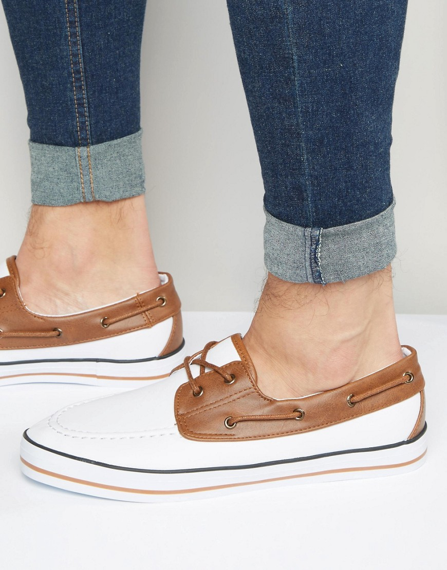 asos boat shoes in white canvas in brown for lyst