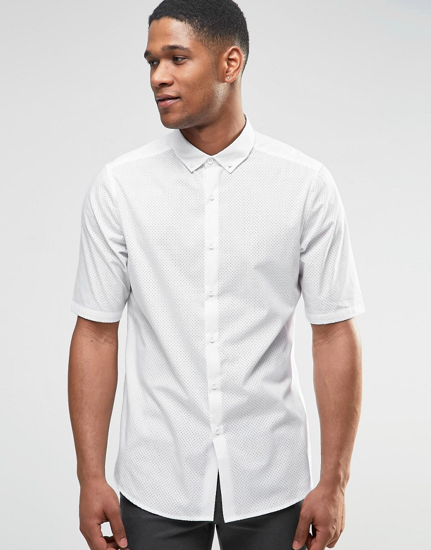 Lyst asos perforated shirt in white with button down for White shirt with collar pin