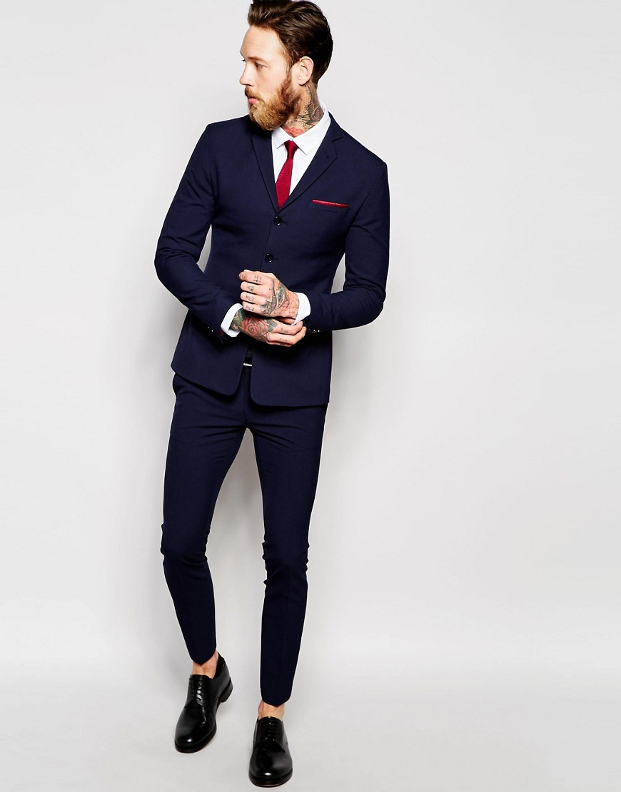 Lyst Asos Super Skinny Suit Trousers In Navy In Blue For Men