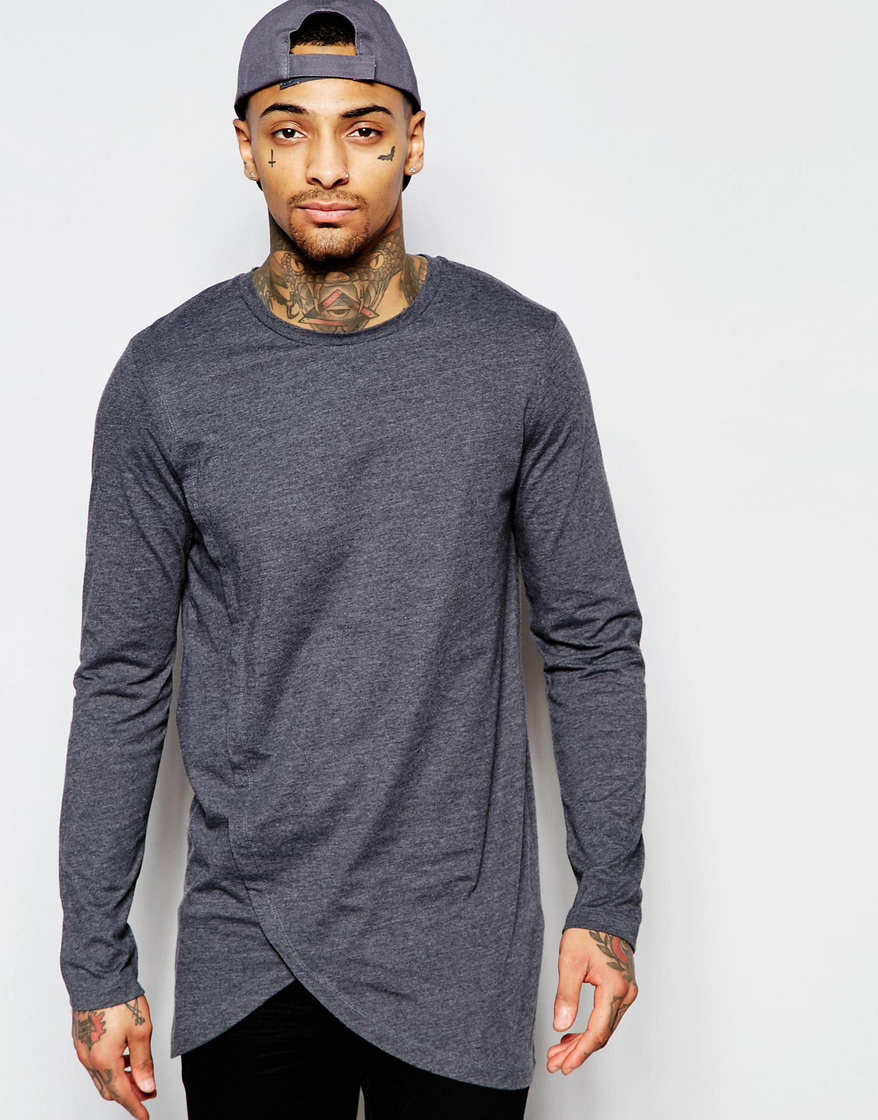 Lyst Asos Longline Long Sleeve T Shirt With Asymmetric