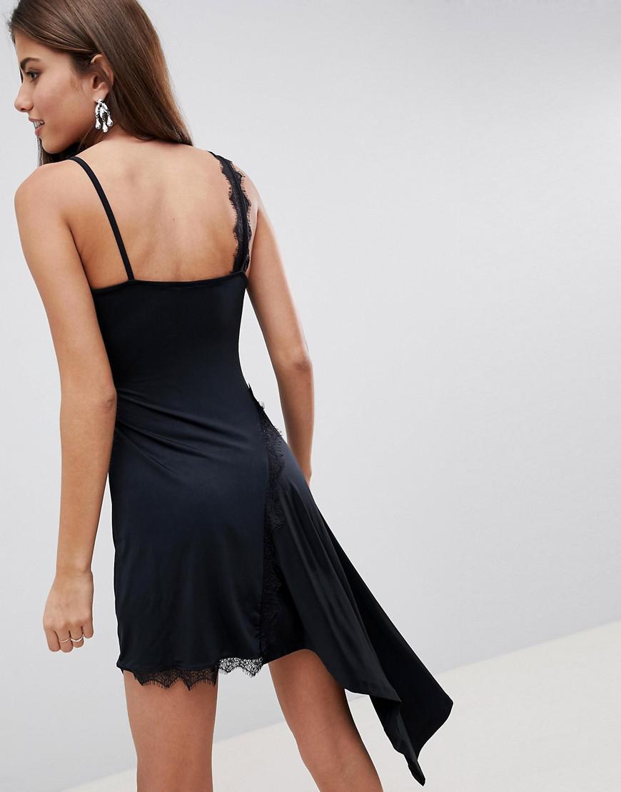 8e1b129cdc4e ASOS Lace Insert Slinky Slip Dress in Black - Lyst