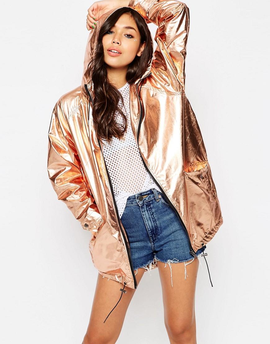 Lyst Asos Rain Mac In Rose Gold Metallic In Metallic